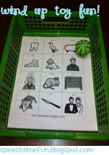 Wind up toy fun: using a toy from the dollar store to address a variety of goals.  Free downloads for working on categories and irregular plural nouns available at Speech Time Fun!