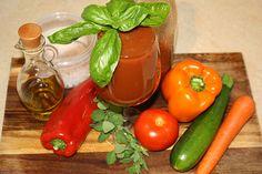 Bloody Mary Juice  4 tomatoes 2 red peppers (capsicum) 1 orange pepper (capsicum) 1 carrot 1 zucchini Large handful of fresh herbs (oregano, basil & parsley) Himlayan salt to taste 1-2 teaspoons olive oil
