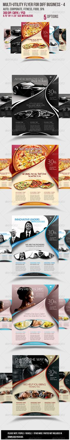 Buy Multi-utility Flyer For Different Business - 4 by Satgur on GraphicRiver. SPECIFICATIONS: Dimensions: by in size by with bleeds) Resolution: 300 dpi CMYK / ready . Psd Flyer Templates, Business Flyer Templates, Print Templates, Promotional Flyers, Promotional Design, Pizza Flyer, Minimalist Flat, Fitness Flyer, Menu Printing