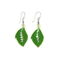 NOVICA Silk and Glass Bead Dangle Earrings in Lime from Thailand ($31) ❤ liked on Polyvore featuring jewelry, earrings, clothing & accessories, dangle, glass, beads jewellery, leaves earrings, novica jewelry, beading jewelry and hook earrings