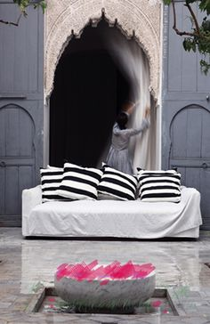 Morocco accommodation - stylish black and white stripped cushions
