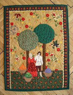 "Polish folk art quilt. ""Harvest Time""."
