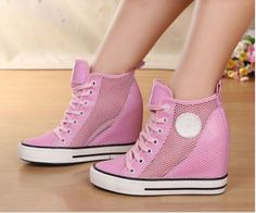 High-Top Womens Mesh Lace Up Hidden Wedge Heels Sneakers Girls Hollow Out Shoes