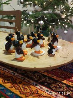 Penguin bites, mozzarella, carrot, olives