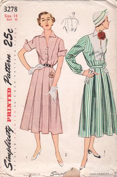 Simplicity 3278  1950s Misses  2 Piece Dress Skirt and Blouse Vintage Sewing Pattern  by mbchills