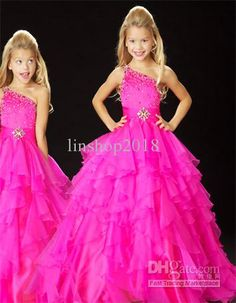 2013 New Lovely One-shoulder Sleeveless Ball Gowns Organza Beaded Floor Length Flower Girl Dresses Girl's Pageant Dresses Cheap 2014 Pagent Dresses, Little Girl Pageant Dresses, Pageant Gowns, Girls Dresses, Flower Girl Dresses, Flower Girls, Junior Dresses, Dresses 2014, Pink Dresses