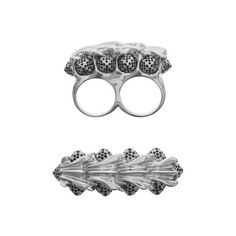 Twisted Knuckleduster Ring (£165) ❤ liked on Polyvore featuring jewelry, rings, white jewelry, graduation rings, twist jewelry, charm rings and white ring