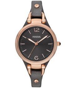 Fossil Women's Georgia Ash Gray Leather Strap Watch 32mm ES3077 | macys.com