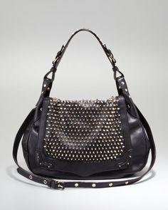 Moonstruck Studded Hobo Bag, Black at CUSP.