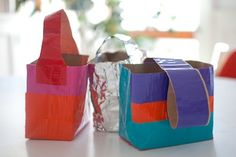 * duct tape craft for kids - make colorful duct tote bag baskets from paper sacks