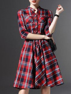 LONYUASH Printed/Dyed Plaid Mini Dress with Belt $96.00