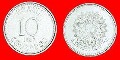 Cruzado (1986) Moeda: 10 cruzados - armas da República Cédula: 10.000 cruzados - Carlos Chagas