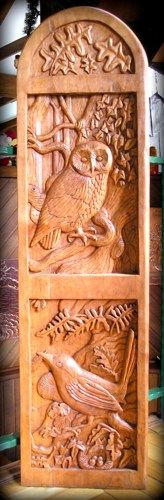 Owl and Sparrow Wood carving, Handmade Woodcarving, 48 x 12,5 in.