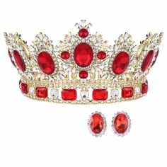 3.9''Luxury Baroque Crystal Ruby Crown Gem Diamond Sapphire Tiaras Diadem Prom #Crown