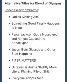 Alternative titles for Blood of Olympus I'M DYING OH MY GODS