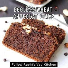 Cake Recipes Eggless, Eggless Cake Recipe Video, Easy Chocolate Cake Recipe, Wheat Cake Recipe, Chocolate Dishes, Healthy Cake Recipes, Easy Baking Recipes, Sweet Recipes, Snack Recipes