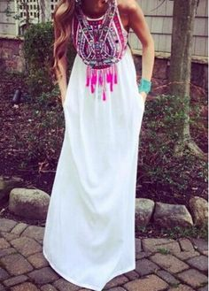 Tribal Print Round Neck Maxi Dress on sale only US$21.77 now, buy cheap Tribal Print Round Neck Maxi Dress at modlily.com