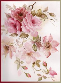 Discover recipes, home ideas, style inspiration and other ideas to try. Art Floral, Watercolor Flowers, Watercolor Paintings, Vintage Rosen, Decoupage Printables, Decoupage Vintage, Rose Art, China Painting, Flower Pictures