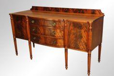 Antique Flame Mahogany Custom Sheraton Sideboard