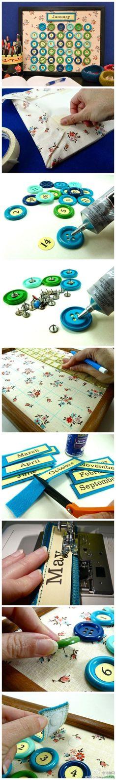 Framed fabric button pin calendar board