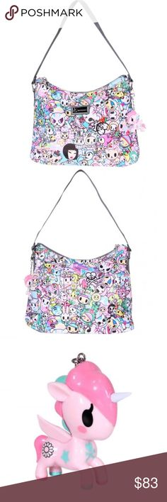 "Tokidoki Hobo - Spring Dream New Tokidoki hobo bag. Comes with original tags and packaging.  - Size: 11"" high x 13"" wide x 5"" deep, Handle Drop: 10"" - Shell and Lining: 100% Polyester. Trim: 100% Polyurethane - Zippered closure at the top - One zipped pocket and two open pockets on the inside - Signature jacquard-woven tokidoki handles - tokidoki name plate on the front and tokidoki logo zipper pulls - Teal lining - Silver tone hardware - Removable Unicorno keychain (2.5"" H x 2.75"" W)…"