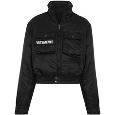 Vetements Reversible embroidered shell and wool-blend bomber jacket ($2,780) ❤ liked on Polyvore featuring outerwear, jackets, vetements, black, flight jackets, padded jacket, bomber jacket, reversible jackets and evening jackets