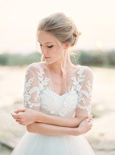 Lace applique tulle bridal bolero ivory lace by HoneyPieBridal