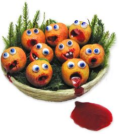 "Put a couple of eyes on your fruits and veggies and suddenly they're ready for Halloween. You can see how it works for Hawaii's Kiva Atkinson and her miniature blood oranges.  ""I enjoy making unusual things, from strange Tudor food, to ethnic cuisines, to cheeky mice doing naughty things. My imagination gets to run wild all the time!"" she says.  This tray of miniatures ready for baking shows you how Kiva ran wild with her vegetables. There's more on her blog and on Flickr."