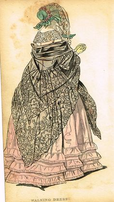 """Lady's Cabinet Fashion Plate - """"WALKING DRESS (PINK)"""" - Hand-Colored Engraving - 1840"""