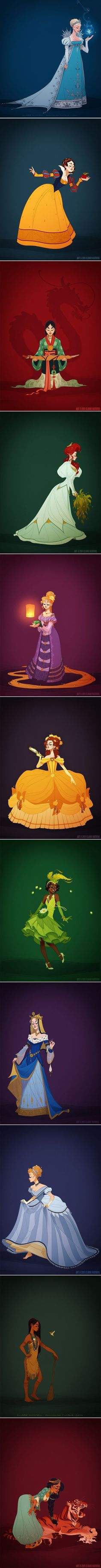 These Historically Accurate Disney Princesses Are STUNNING Mulans is pretty close. i dont like snow whites Disney Princess Fashion, Disney Princess Art, Disney Art, Walt Disney, Cute Disney, Disney Magic, Disney And Dreamworks, Disney Pixar, Disney Characters