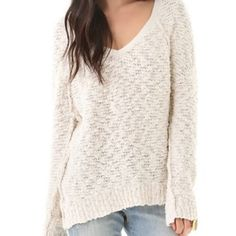 Cream Free People Sweater Beautiful off-white free people sweater. Classic style that looks great with dark wash jeans or even over a skirt. Free People Sweaters V-Necks