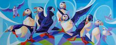 Cavalcade of Puffins Image Size 30 x 12″ Oil on Canvas SOLD Limited edition…