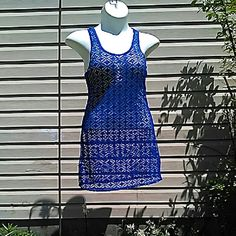 """Crochet Racer Back Dress Tank dress / cover up. Beautiful royal blue. Excellent like new condition. Tags removed, laundered, unworn. Some stretch, poly.  Measured flat. 17"""" across bust. 34"""" long. On 36"""" x 31"""" x 36"""" mani Cristinalove Dresses"""