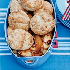 Buttermilk-Biscuit Peach Cobbler // More Tasty Peach Recipes: http://www.foodandwine.com/slideshows/peaches #foodandwine