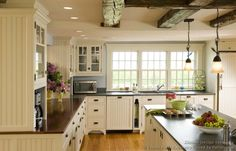 White kitchen with amazing coffered ceiling + tongue and groove boards, recessed lighting, old timey light fixtures. Description from pinterest.com. I searched for this on bing.com/images