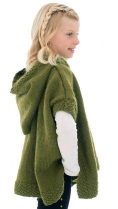 Free Knitting Pattern for Hooded Poncho #knittingpatternsladies