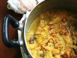 Zuppa di cavolo verza e patate novelle allo zafferano