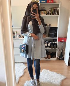 best Ideas for style hijab outfit muslim Modest Fashion Hijab, Modern Hijab Fashion, Street Hijab Fashion, Modest Outfits, Trendy Fashion, Hijab Outfit, Hijab Dress, Hijab Elegante, Hijab Chic