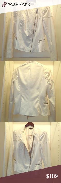 Bebe White Leather Jacket Size Large. Bebe Leather jacket. Size Large. Color White. Shell is 100% leather. Lining Polyester. Features jacket zipper with two zipper pockets. Worn only twice. Will ship fast! No trades please. bebe Jackets & Coats