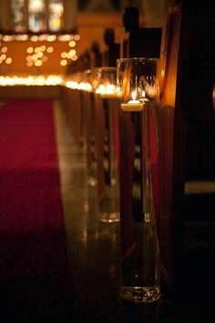 Beautiful candle decor for a church wedding.