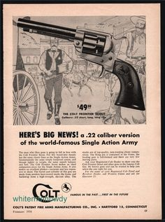 1958 COLT Frontier Scout Revolver Print AD : Other Collectibles at GunBroker.com
