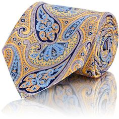 Ermenegildo Zegna Paisley Necktie ($195) ❤ liked on Polyvore featuring men's fashion, men's accessories, men's neckwear, ties and yellow