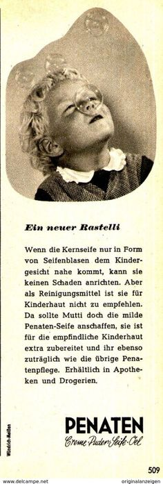 Original-Werbung/ Anzeige 1961 - PENATEN CREME - Ca. 60 X 170 Mm - Werbung