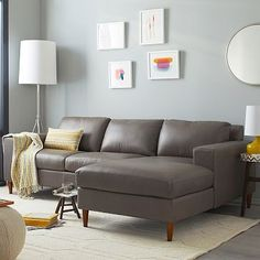 Shop modern living room furniture at west elm and create a chic living room space. Our living room furniture collection features modern and sophisticated designs. Living Room Redo, Living Room Sectional, Living Room Furniture, Home Furniture, Grey Leather Sectional, Gray Sofa, Home Decor Inspiration, Color Inspiration, Decoration