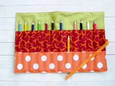 Roll pencils case in green fabric with colorful wax by poppyshome, $26.00