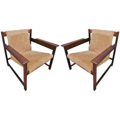 Pair of Sergio Rodrigues Lia Chairs in Jacaranda and cowhide ca1960's