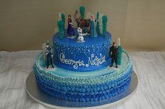 Disney Frozen themed birthday cake. Dessert Works Bakery. Westwood, MA