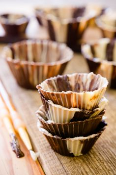You can't bake in chocolate cups, but once you learn how to make a chocolate cup, you'll find yourself stuffing chocolate cups with peanut butter, ice cream filling and more!