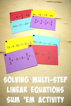 Solving Multi-Step Linear Equations Sum 'Em Activity - There are four differentiation levels. I love how this activity gives students a chance to work independently and then collaborate with partners.