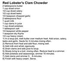 Red Lobster's Clam Chowder-would add shrimp and scallops and maybe a firm fish to this soup*********** Red Lobster Clam Chowder Recipe, Clam Chowder Recipes, Chowder Soup, Lobster Recipes, Seafood Recipes, Soup Recipes, Cooking Recipes, Crab Chowder, Gastronomia